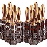 Goaycer Conectores banana de 4 mm, chapados en oro de 24 quilates, 6 pares/12 unidades