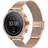 for Fossil Women's Gen 4 Venture HR Watchband, TRUMiRR 18mm Mesh Woven Stainless Steel Watch Band Quick Release Strap Wrist B