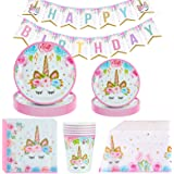 Amycute Unicorno Party Kit Compleanno, Set di Articoli per Feste Unicorno per Bambini Ragazze Festa di Compleanno Baby Shower