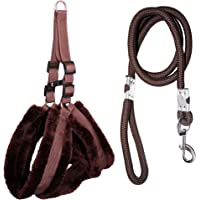 Petshop7 Premium Qualtiy Fur Padded Nylon Dog Harness & Leash Rope 0.75 inch - Small (Chest Size - 23-28inch) Brown
