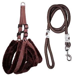 Petshop7 Premium Qualtiy Fur Padded Nylon Dog Harness & Leash Rope 0.75 inch - Medium (Chest Size - 25-30inch)