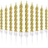 50 Pièces Bougies Gâteaux Supports Métallique Bougies de Petit Gâteau Bougies de Gâteau Minces Courtes pour la Décorations de Gâteaux d'anniversaire de Mariage (Or)