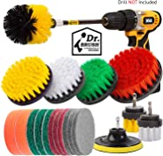 Holikme 19Piece Drill Brush Attachments Set,Scrub Pads & Sponge, Power Scrubber Brush with Extend Long Attachment All purpos