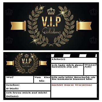 14er Karten Set VIP EINLADUNG Premium Einladungskarten Zum Ausfüllen   Edel  In Schwarz U0026 Gold