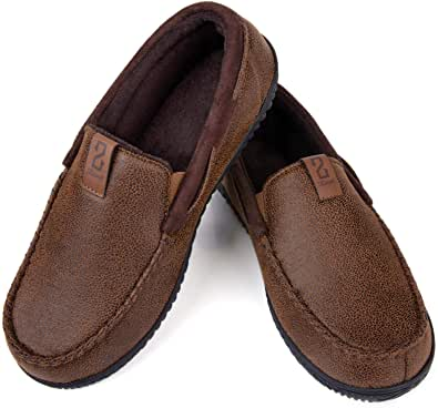 ZIZOR Men's Suede Moccasin Slippers, Cozy Memory Foam House Shoes with Non-slip Rubber Sole