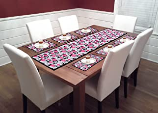 Heny Home Dining Table Mat Set of 7 Pieces, 1 Table Runner:6 Table Mat