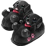 corimori - Buddy el Labrador, Zapatillas de Felpa para niños y Adultos, niños tamaño estándar de la EU 25 a 33,5 (Negro)