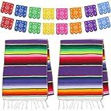 Dreamtop Lot de 2 chemins de table mexicains 35,6 x 213,4 cm en coton coloré à franges avec 16 bannières Picado pour fête mex
