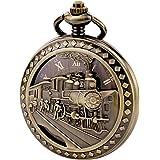 TREEWETO Antike Herren-Taschenuhr, Skelett, mechanisch, hohles Bronzegehäuse, 3D-Dampfzug, Eisenbahn, römische Ziffern