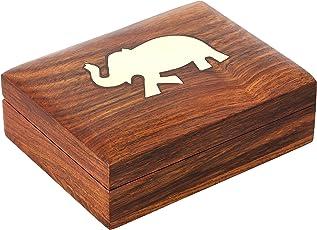 ShalinIndia Indischer Elefanten-schmuckkasten - Schwenkbar Holzkästchen 11,4 x 8,2 x 3,1 cm - handgefertigten Schmuckkästchen