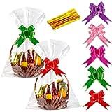 15pcs Cellophane Basket Bags Clear Gift Basket Bags, 30 x 40 Inches Large Hamper Wrap Bags Cellophane Present Wrap Bags…