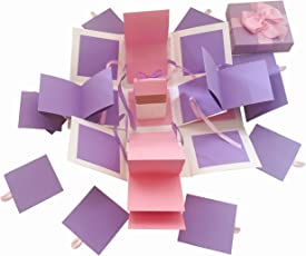 Greeting cards buy greeting cards online at best prices in india crack of dawn crafts 3 layered all occasion explosion box pinky purple m4hsunfo