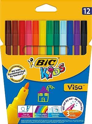 BIC Kids Visa Feutres de Coloriage - Etui Carton de 12