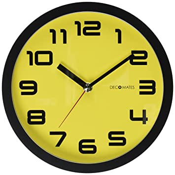 Decomates Non Ticking Silent Wall Clock Color Block Yellow
