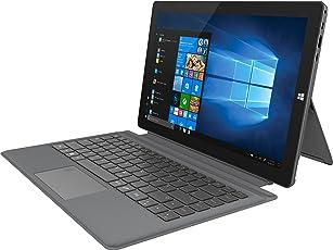 TREKSTOR PRIMETAB T13B – Volks-Tablet, 33,8 cm (13,3 Zoll) 2-in-1 Tablet, Intel Pentium N4200, 64GB interner Speicher – mit M.2 SSD erweiterbar, 4GB RAM, WIN 10 Home, OFFICE 365, Beleuchtetes Keyboard mit Fingerprint Sensor) Dunkelgrau