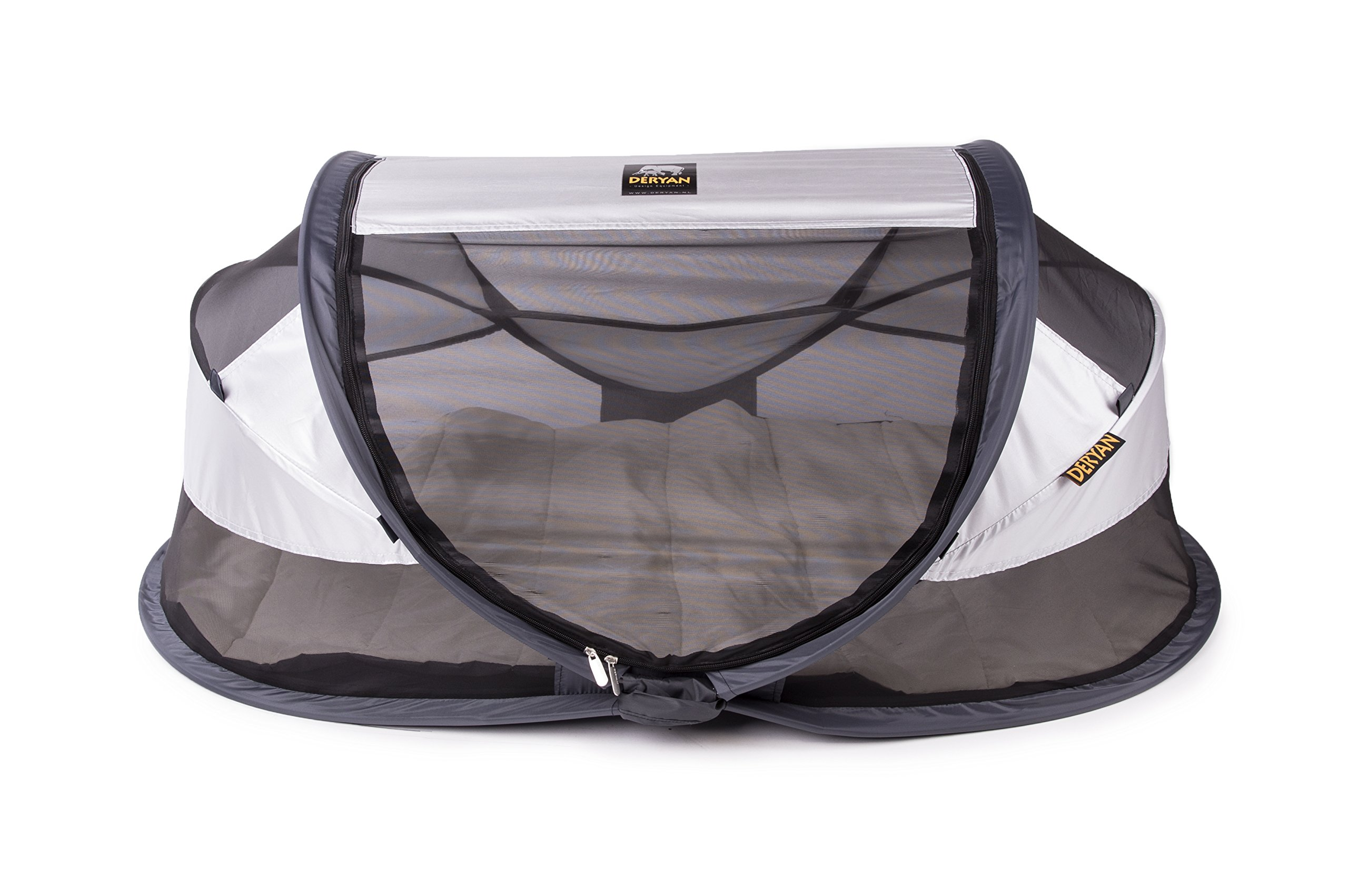 Deryan travel cot / travel cot Baby Luxe travel tent including sleeping mat, self-inflatable air mattress and carrying bag with pop-up built within 2 seconds, Silver Deryan 50% UV Protection and flame retardant fabric Setup in 2 seconds and a anti-musquito net  1