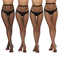 MANZI 4 Pairs Womens Fishnet Tights Sexy Cross Mesh Fencenet Stockings Black Fishnets Pantyhose