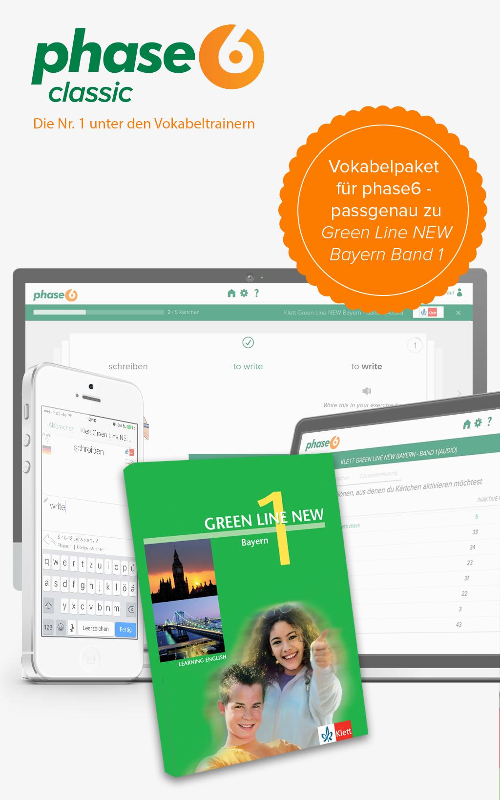 phase-6 Vokabelpaket zu Green Line NEW Bayern - Band 1 [Online Code]