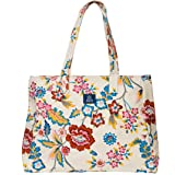 AQVA Cotton Canvas Shoulder Bag/Tote Bag For Women, Printed Multipurpose Handbag With Top Zip, Best For Shopping, Travel, Wor