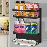 Étagère Réfrigérateur,Etagere magnetique,étagère à épices magnétique,support epices magnétique à 2 niveaux,porte-serviettes e