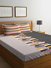 Trident Comfort Living 120 TC Cotton Bedsheet with 2 Pillow Cover - Abstract, Queen Size, Orange