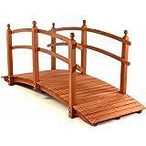 große Holzbrücke Teichbrücke Teich Garten Holz Brücke mit Geländer rot - braun