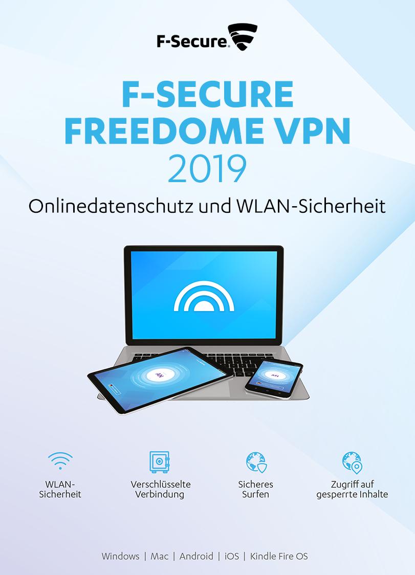 F-Secure FREEDOME VPN 2019 - 1 Jahr / 3 PCs für Multi Plattform (PC, Mac, Android und iOS) [Online Code]