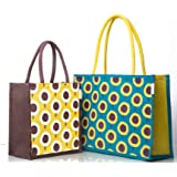 H&B Jute Bags Combo- Lunch Bag & Shopping Bag - Jute Bags for Lunch   Lunch Bags for Office   Lunch Box Bag   Tiffin Bags   S