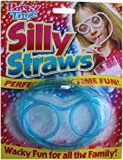 WAVE SHOP Silly Straw Glass Goggle Shape Drinking Eyeglasses (colors may vary)