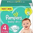 Pampers Couches Baby-Dry Taille 4 (9-14kg) Jusqu'à 12h Bien Au Sec et Avec Double-Barrière Anti-Fuites, 174 Couches (Pack 1 M