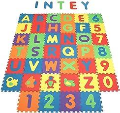 INTEY Tappeto Puzzle Bambini - 40 pezzi Tappeto puzzle, Lettere Numeri Animali Rimovibili -Gioco Tappetino puzzle Come Regalo - 32*32cm