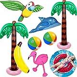 Yetech Uppblåsbara palmer 9 st Hawaiian party dekorationsset flamingo leksaker uppblåsbar banan strandbollar flygande papegoj