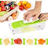 yokamira Mandoline 4 en 1 Multifonction Couper Légumes Fruits Trancheuse Cutter 4 lames interchangeables rapidement, incluent la boîte de rangement des lames, Facile à Nettoyer