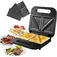 Gotoll Appareil à sandwichs 3 en 1 Sandwich Grill Gaufrier, 3 Plaques Antiadhésives Amovibles Croque Gaufre à Croque…