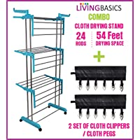 LivingBasics® Heavy Duty Rust-free Stainless Steel Double Pole Cloth Drying Stand/Clothes Dryer Stands/Laundry Racks…