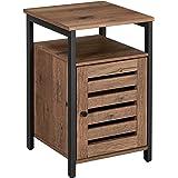 VASAGLE Table de Chevet, Table d'appoint, Table Console, avec Porte, 2 Niveaux, Planche réglable en Hauteur, Cadre en Acier,
