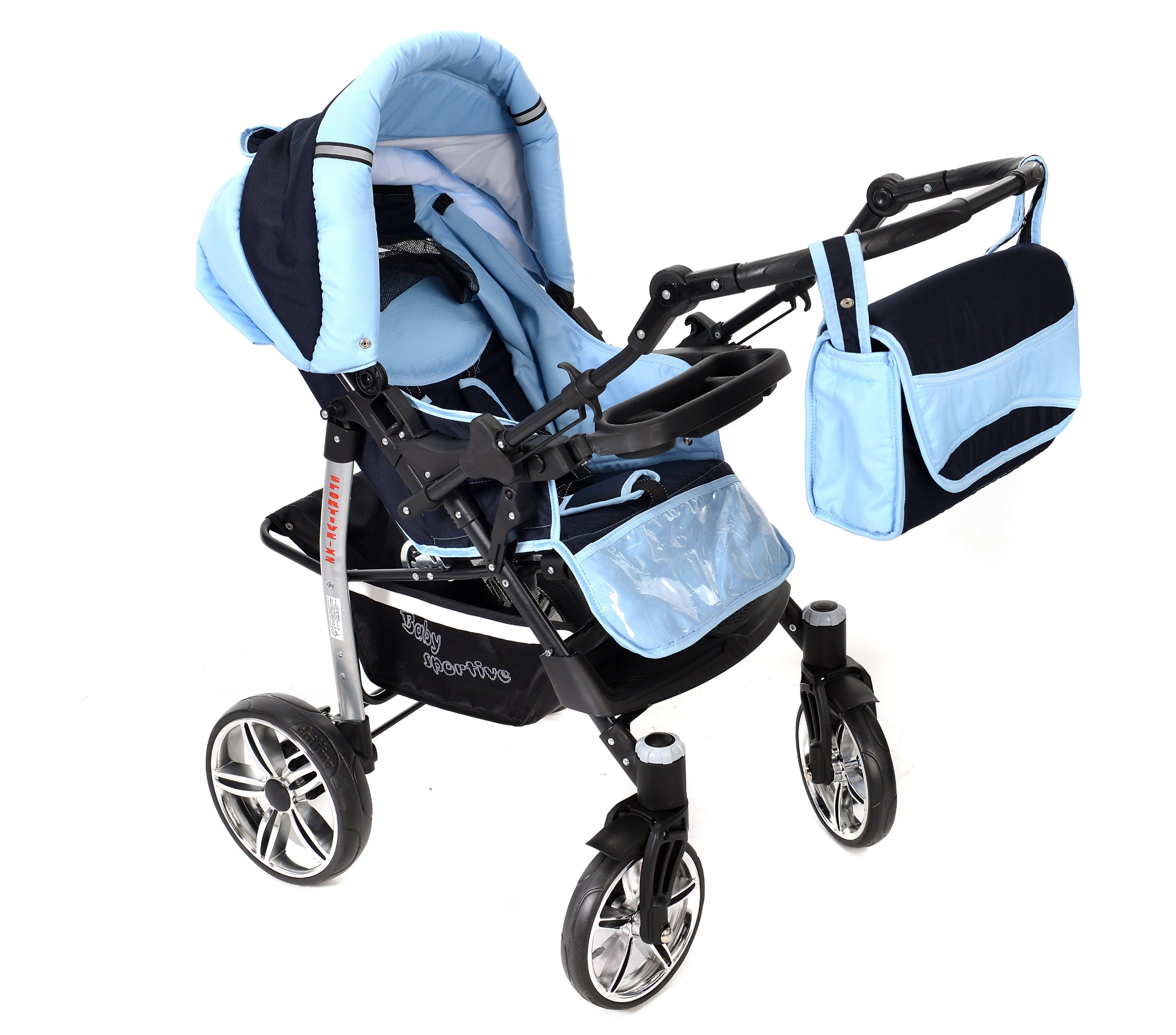 Sportive X2, 3-in-1 Travel System incl. Baby Pram with Swivel Wheels, Car Seat, Pushchair & Accessories (3-in-1 Travel System, Navy-Blue & Blue)  3 in 1 Travel System All in One Set - Pram, Car Carrier Seat and Sport Buggy + Accessories: carrier bag, rain protection, mosquito net, changing mat, removable bottle holder and removable tray for your child's bits and pieces Suitable from birth, Easy Quick Folding System; Large storage basket; Turnable handle bar that allows to face or rear the drive direction; Quick release rear wheels for easy cleaning after muddy walks Front lockable 360o swivel wheels for manoeuvrability , Small sized when folded, fits into many small car trunks, Carry-cot with a removable hood, Reflective elements for better visibility 4
