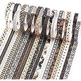 YUBX 20 Rouleaux Washi Tape Ruban Adhésif Papier Décoratif Or Noir Masking Tape pour Scrapbooking Artisanat de Bricolage 7mm