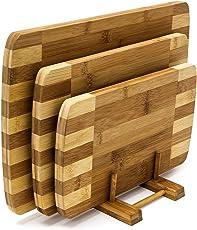 Relaxdays Schneidebretter Set 3 Größen mit Halter Küchenbretter aus Bambus gestreift Brettchen fürs Frühstück in modernem Design im praktischen Brettchenständer pflegeleicht und messerschonend, natur