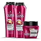 Schwarzkopf Gliss, Linea Colour Perfector, Confezione con 2 Shampoo e Maschera 2in1, Riparazione Intensa per Capelli Danneggi