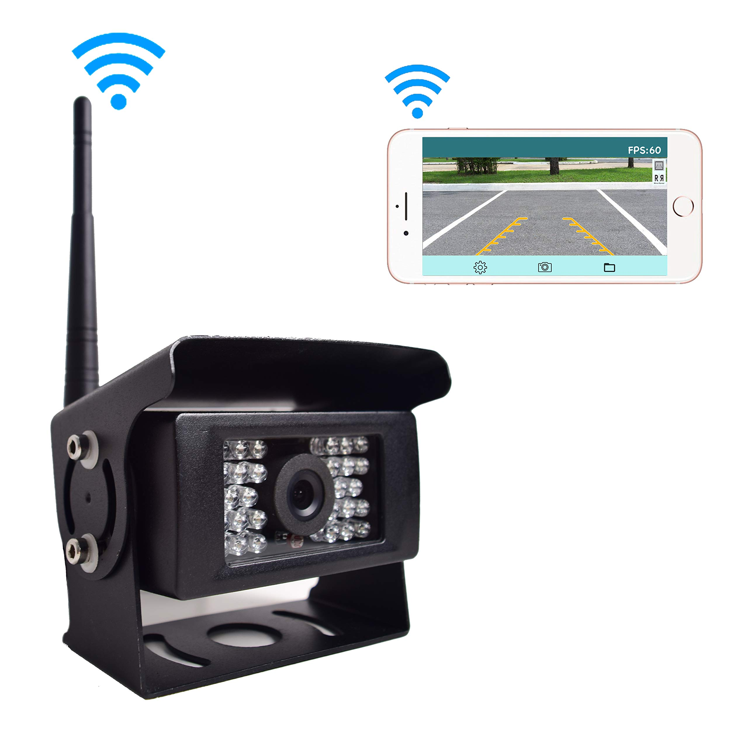 Digital WiFi Caméra de Recul, 12V-24V Caméra de Recul Voiture sans Fil Etanche IP69K, Compatible avec iPhone Android Smartphone Tablette, Transmission Distance Jusqu'à 100FT pour Remorque VR Camions