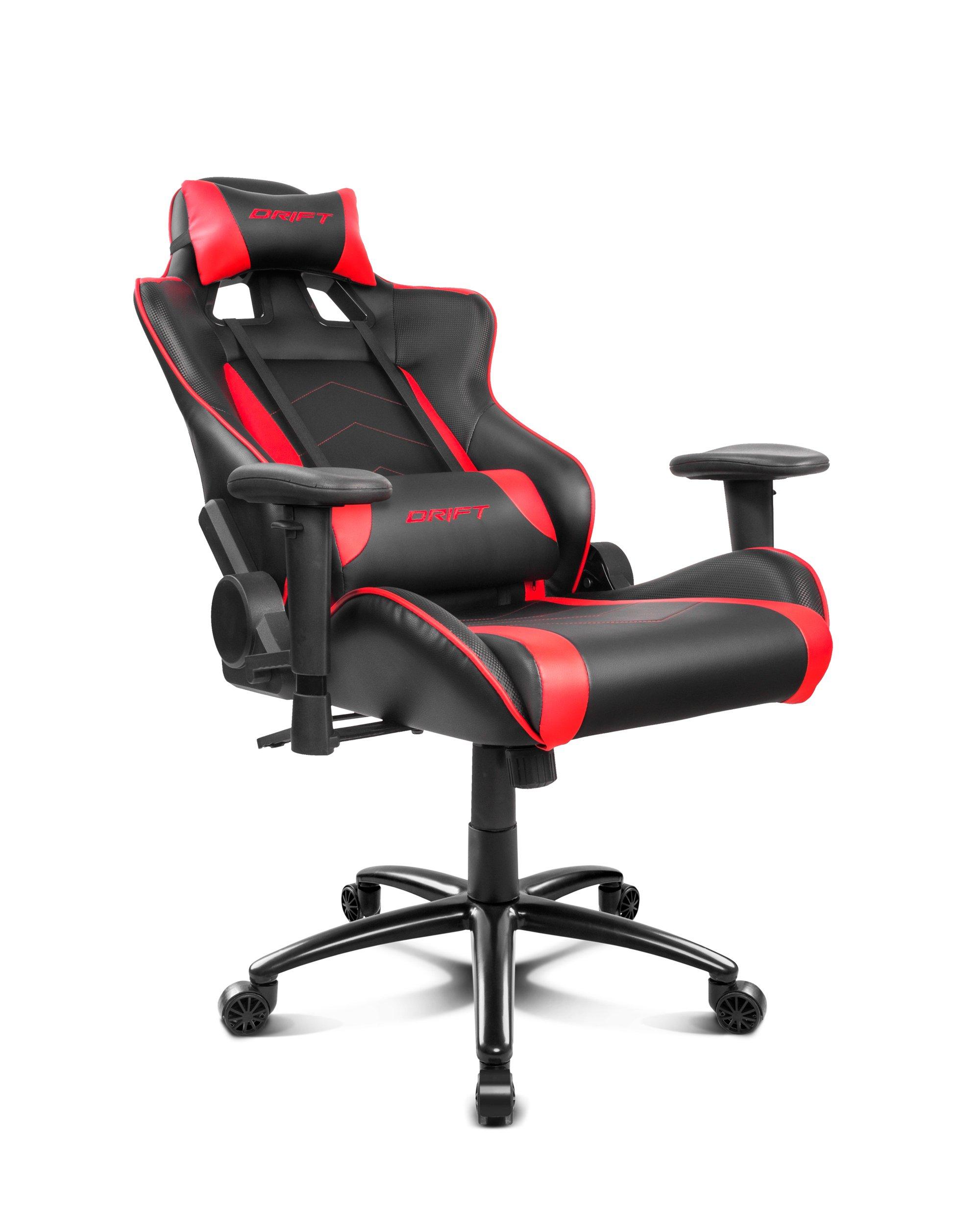 Drift DR150BR – Silla Gaming Profesional, (Poilipiel Alta Calidad, Ergonómica), Color Negro/Rojo