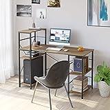 HOMECHO Bureau d'ordinateur avec 5 Étagères de Rangement Table d'étude Poste de Travail Style Industriel Brun 133 x 56 x 110.