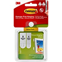 3M Command 17203 Small and Medium Picture Hanging Strips Value Pack, 4 pairs small, 8 pairs medium-white
