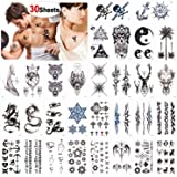 Konsait Temporary Tattoos for Adult Men Women Kids(30 Sheets), Waterproof Temporary Tattoo Fake Tattoos Body Art Sticker Hand