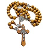 Rosario de San Benito de madera de olivo con medalla católica NR hecha a mano Jerusalén