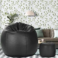 Dr Smith Bean Bag with Footstool with Beans Filled, Size - XXL Colour- Black