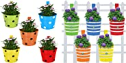 Trust Basket Single Pot Railing Planter (Multicolour, Pack of 5) and Trust Basket Round Ribbed Railing Planters (Multicolour, Pack of 5)