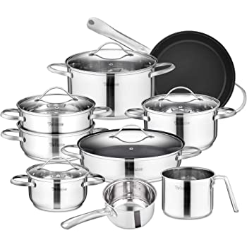Useful Stainless Steel 5pc Cookware Casserole Stockpot Pot Hob Set With Glass Lids Reputation First Home, Furniture & Diy
