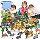 Animales Juguetes Mini Animales de La Selva Realistas Tarta Cumpleaños con Alfombra de Juego, Árbol y Piedra para Niños 30 Pi